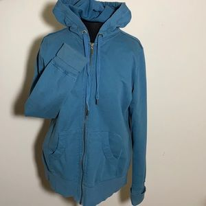 Merona Hooded zip up sweatshirt teal peacock  L/XL